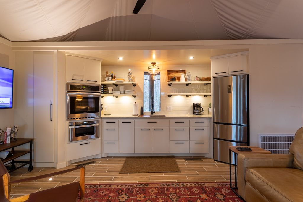 Tents to live in permanently can include a kitchen in Billerica Massachusetts